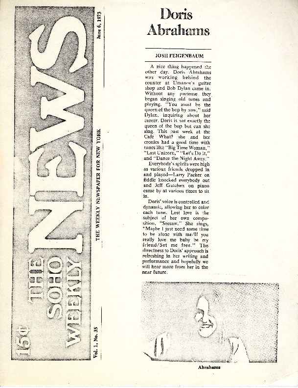 http://history.caffelena.org/transfer/Performer_File_Scans/abrahams_doris/Abrahams__Doris___The_SOHO_Weekly_News___June_6_19731.pdf