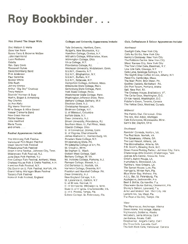 http://history.caffelena.org/transfer/Performer_File_Scans/book_binder_roy/Bookbinder__Roy___list_of_appearances.pdf