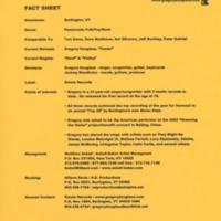[Ephemera] Gregory Douglass-Press Kit-Fact Sheet