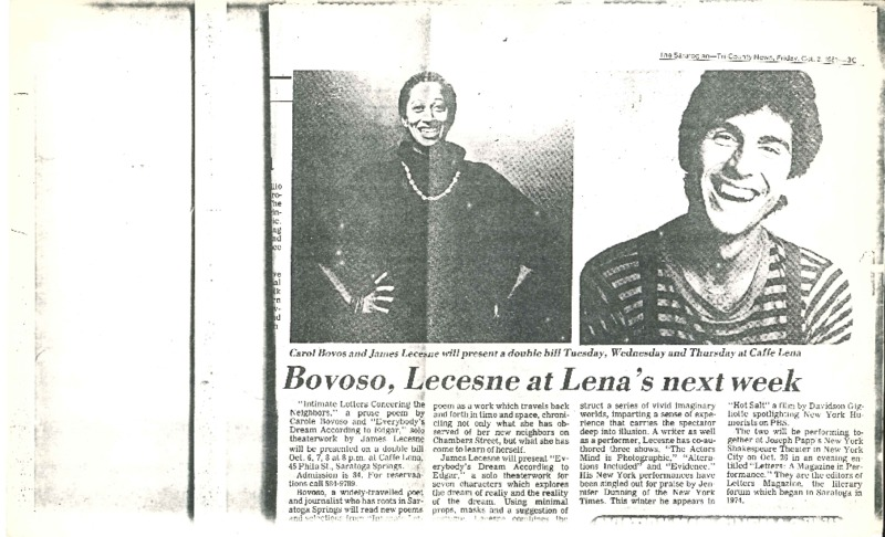 http://history.caffelena.org/transfer/Performer_File_Scans/bovoso_carole/Bovoso__Carole___article___Saratogian___with_James_Lechesne_at_Caffe_Lena_10.2.1981.pdf