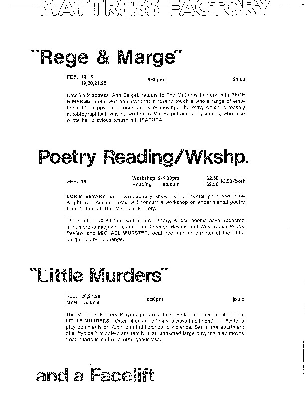 http://history.caffelena.org/transfer/Performer_File_Scans/beigel_ann/Beigel__Ann___advert___Mattress_Factory_with_Rege_and_Marge.pdf