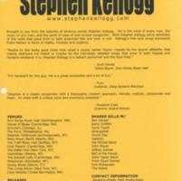 [Ephemera] Stephen Kellogg Press-Kit-informational sheet